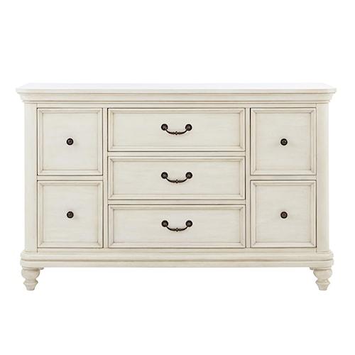 Kidz Gear Everly White 7 Drawer Dresser w/ Bun Feet