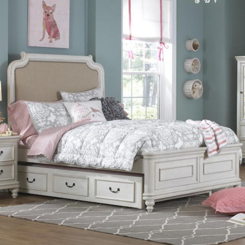 Kidz Gear Everly Full Upholstered Headboard Bed w/ Trundle