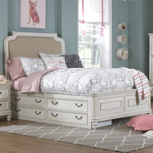 Kidz Gear Everly Full Upholstered Headboard Bed w/ Under Bed Storage