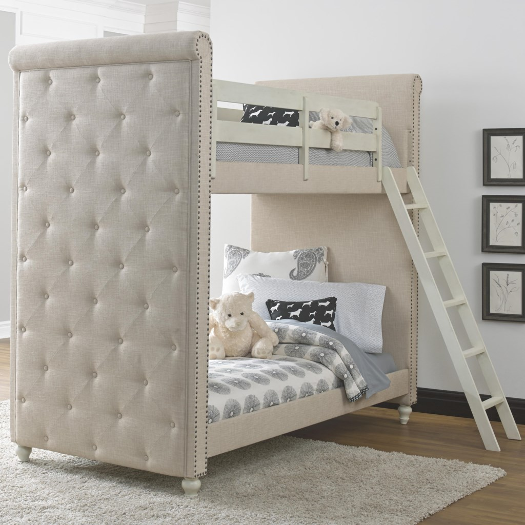 Samuel Lawrence Madison Twin White Upholstered Bunk Bed Rooms For