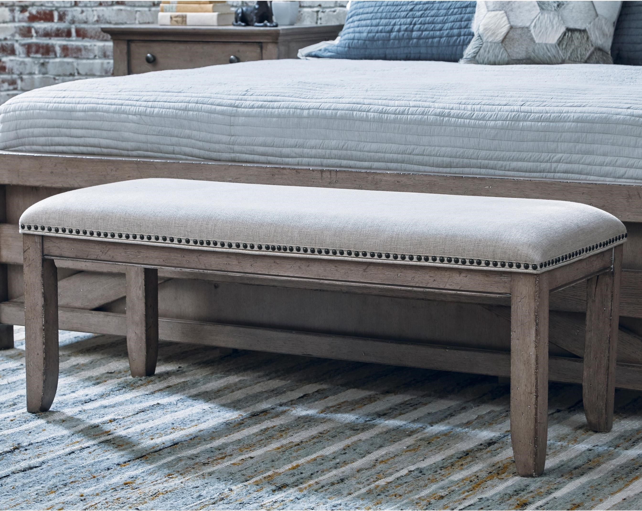 Samuel Lawrence Prospect Hill Upholstered Bench With Decorative Nail Head  Trim