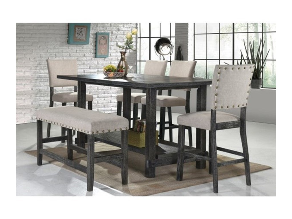 Samuel Lawrence Provence Rustic 6 Piece Pub Table Stool And Bench Set Find Your Furniture Pub Table And Stool Sets