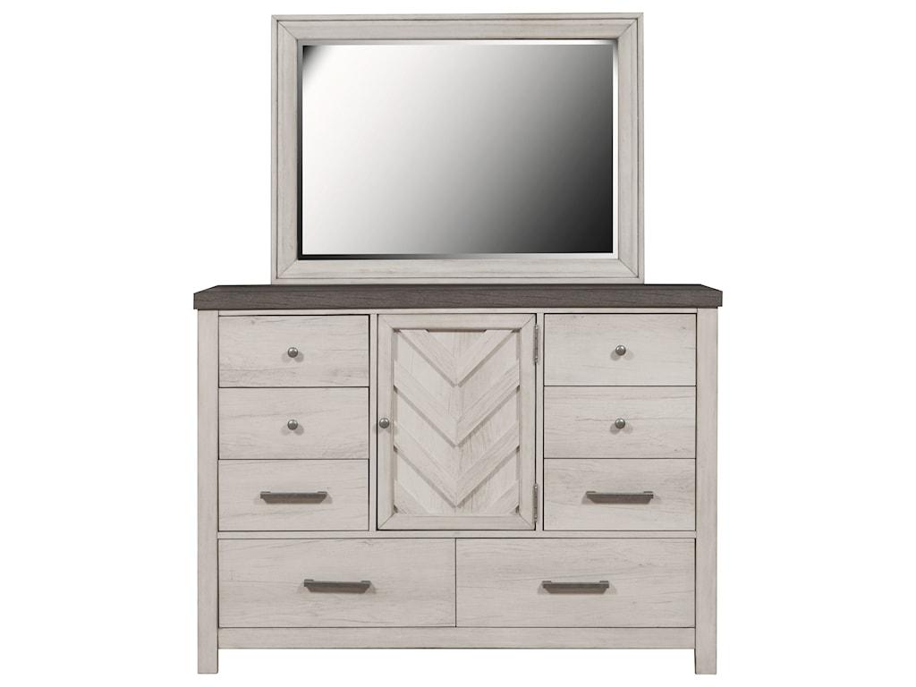 Samuel Lawrence RiverwoodBureau Dresser and Mirror Set