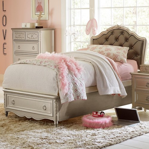 Samuel Lawrence Sterling Twin Princess Bed With Footboard Storage