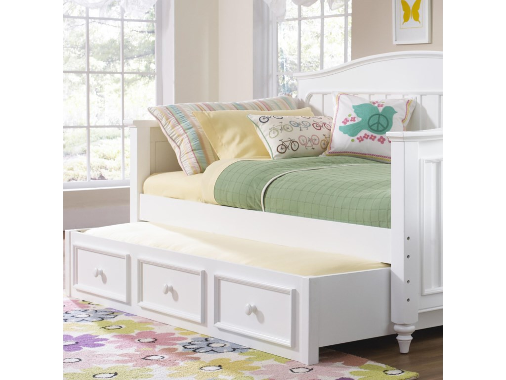 Samuel Lawrence Summertime Youth White Day Bed With Trundle Storage