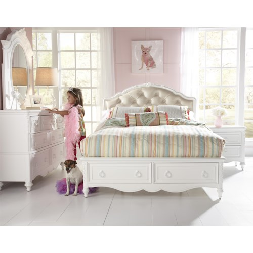 Kidz Gear Eleanor Twin Upholstered Bed with Storage Footboard