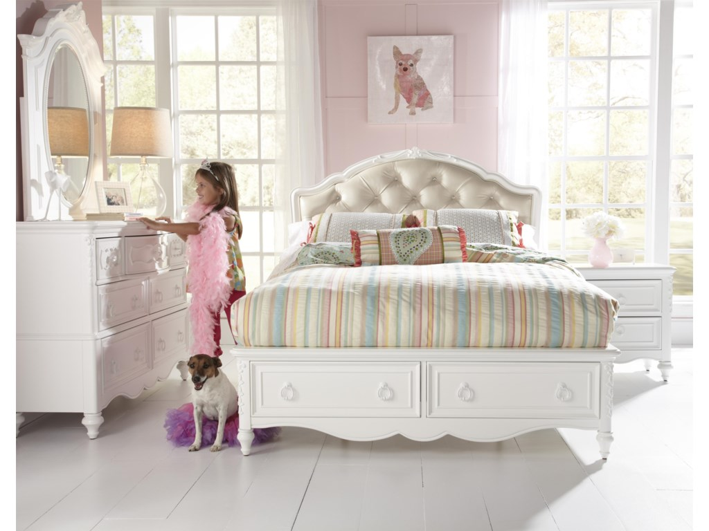 200efa137c1c Samuel Lawrence SweetHeart Youth Twin Upholstered Bed with Storage Footboard