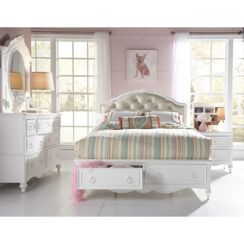 Kidz Gear Eleanor Full Upholstered Bed with Storage Footboard