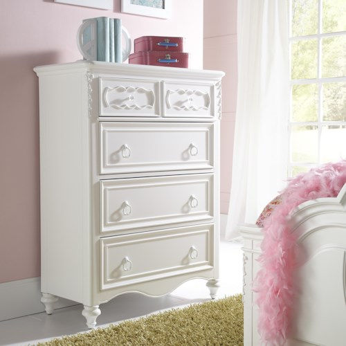 Samuel Lawrence SweetHeart Youth 5 Drawer Chest with Decorative Raised Panels