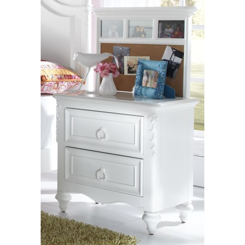 Kidz Gear Eleanor 2 Drawer Nightstand with Corkboard Back Panel