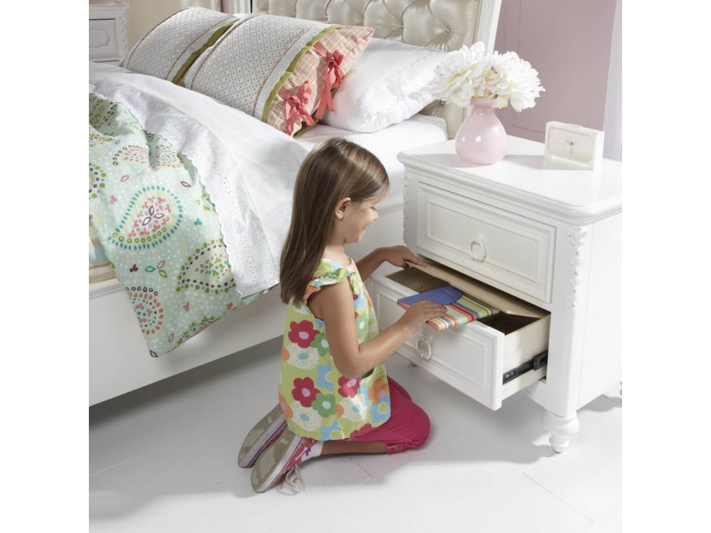 Detail of Open Drawer with Hidden Storage and Shown with Upholstered Bed