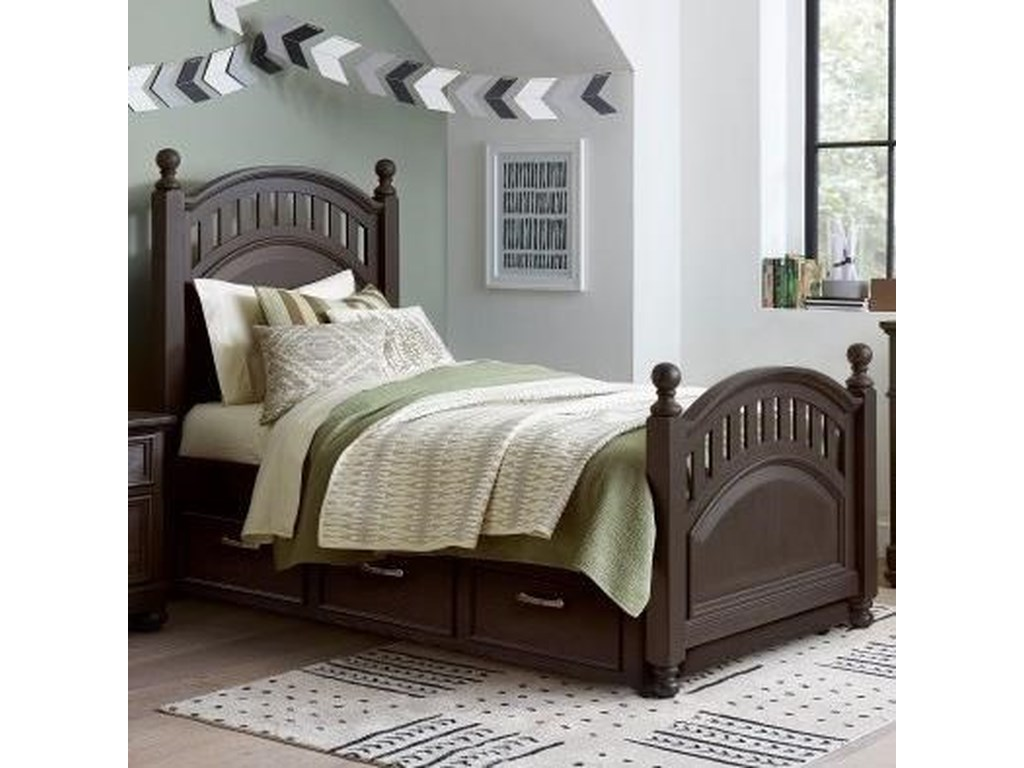 Samuel Lawrence TundraTwin Poster Bed with Trundle Storage Unit