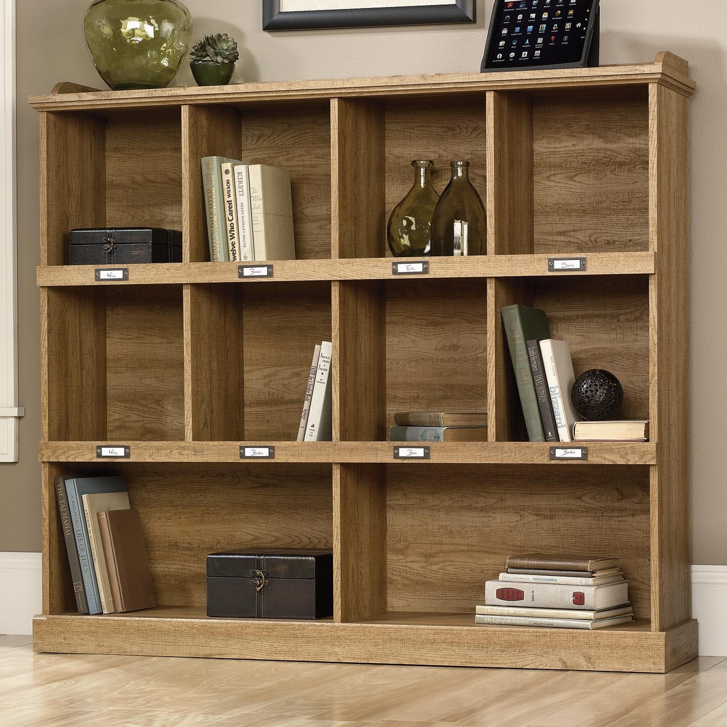 Barrister Lane Bookcase With Cubbyhole Storage And Metal Label Holders By  Sauder