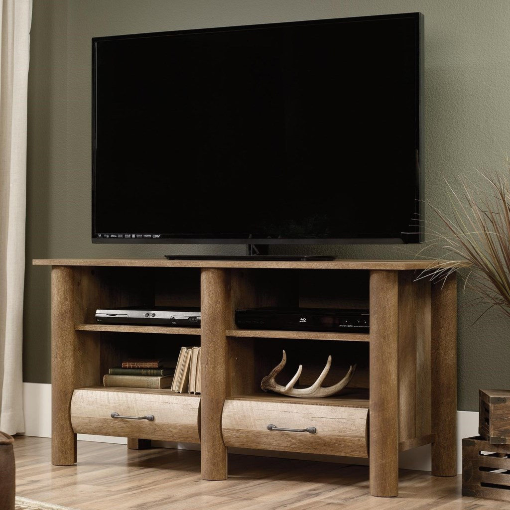 Sauder Boone Mountain 416598 Rustic Tv Stand With Log Style Look
