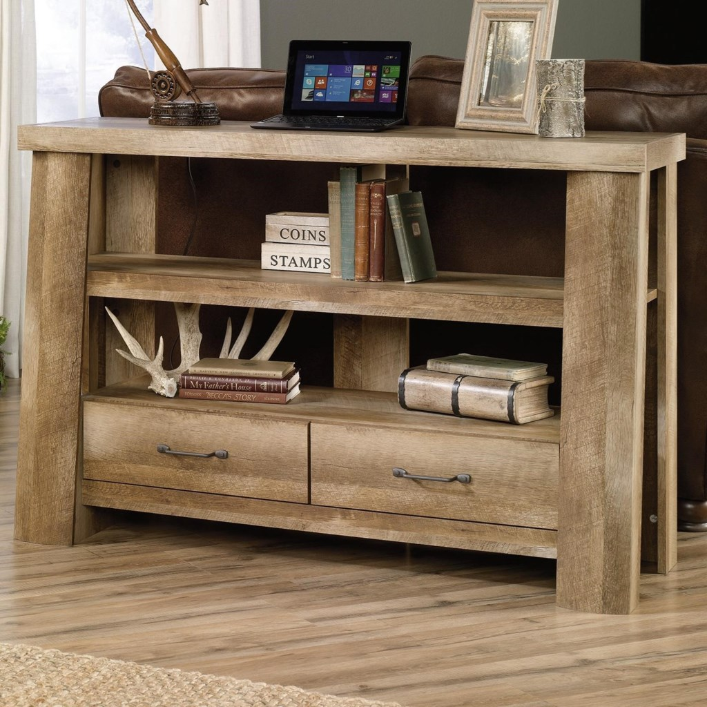 Sauder Boone Mountain Rustic Style Anywhere Console Tv Stand  # Table Tv En Coin