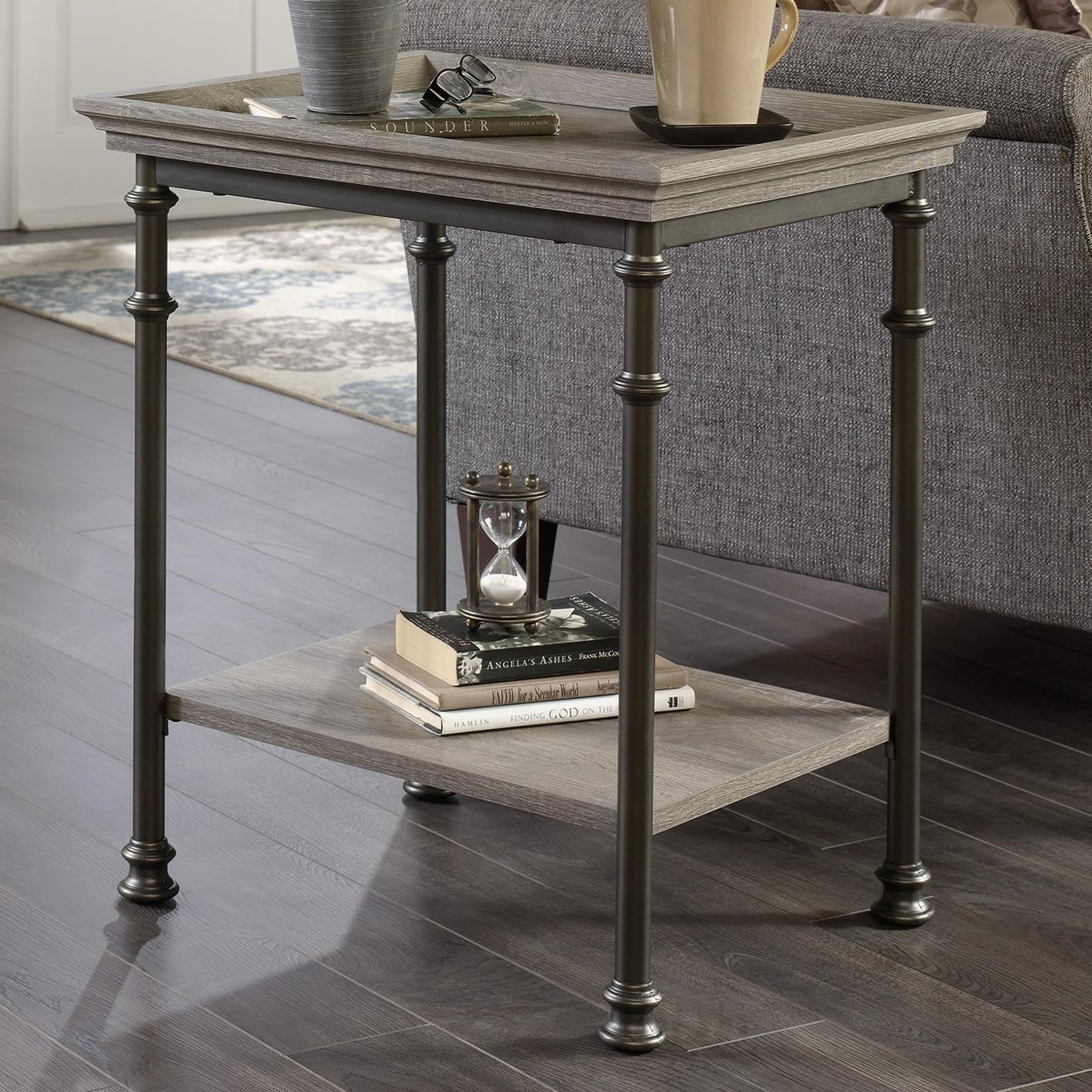 Sauder Canal Street Side Table With Metal Frame And Tray Edge Table Top    Becker Furniture World   End Tables