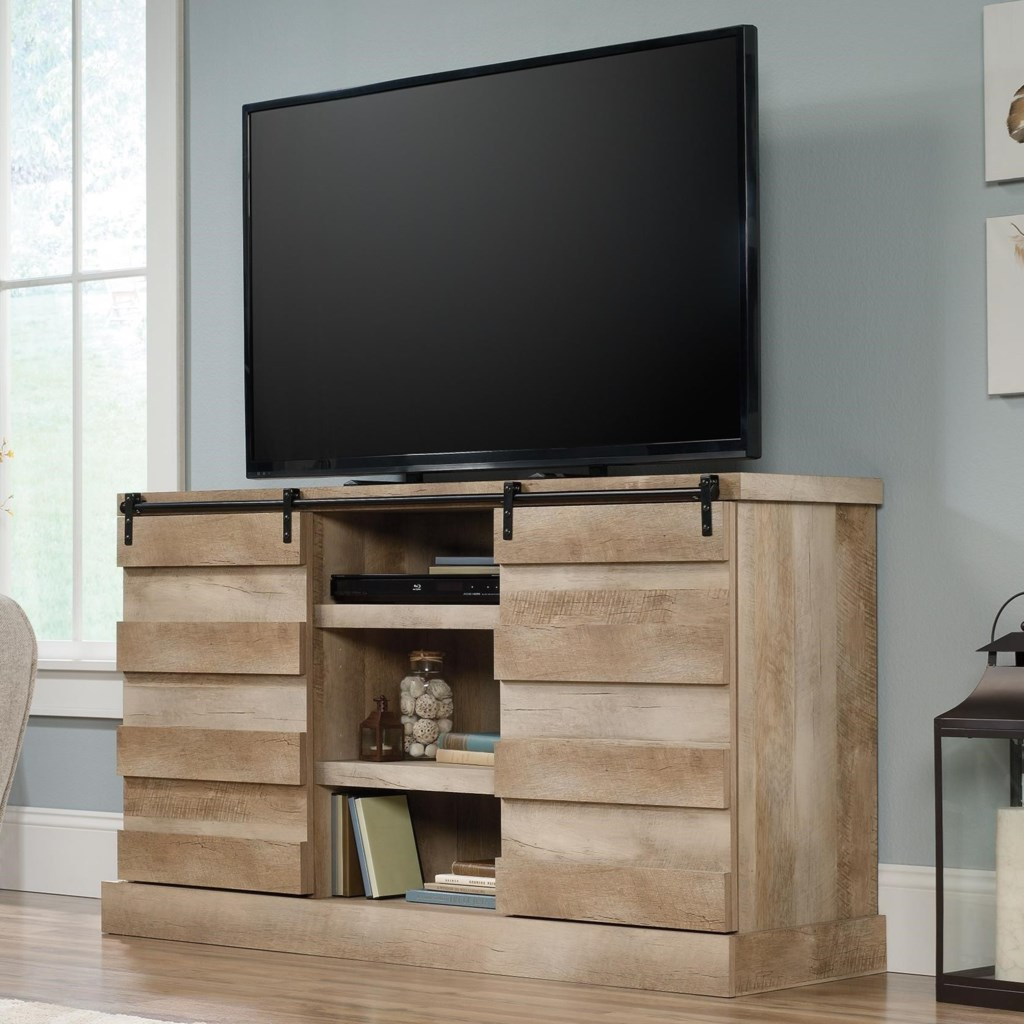 Sauder Cannery Bridge Credenza Tv Stand With Barn Doors Darvin