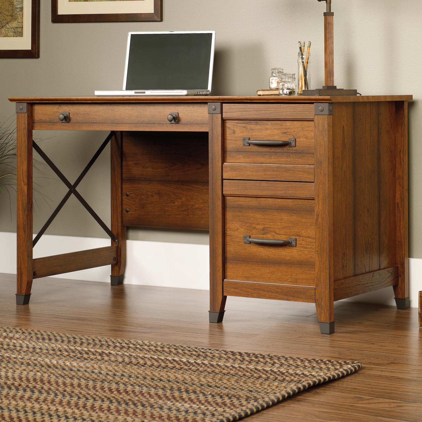 Sauder Carson Forge Single Pedestal Desk With Industrial Accents   John V  Schultz Furniture   Single Pedestal Desks