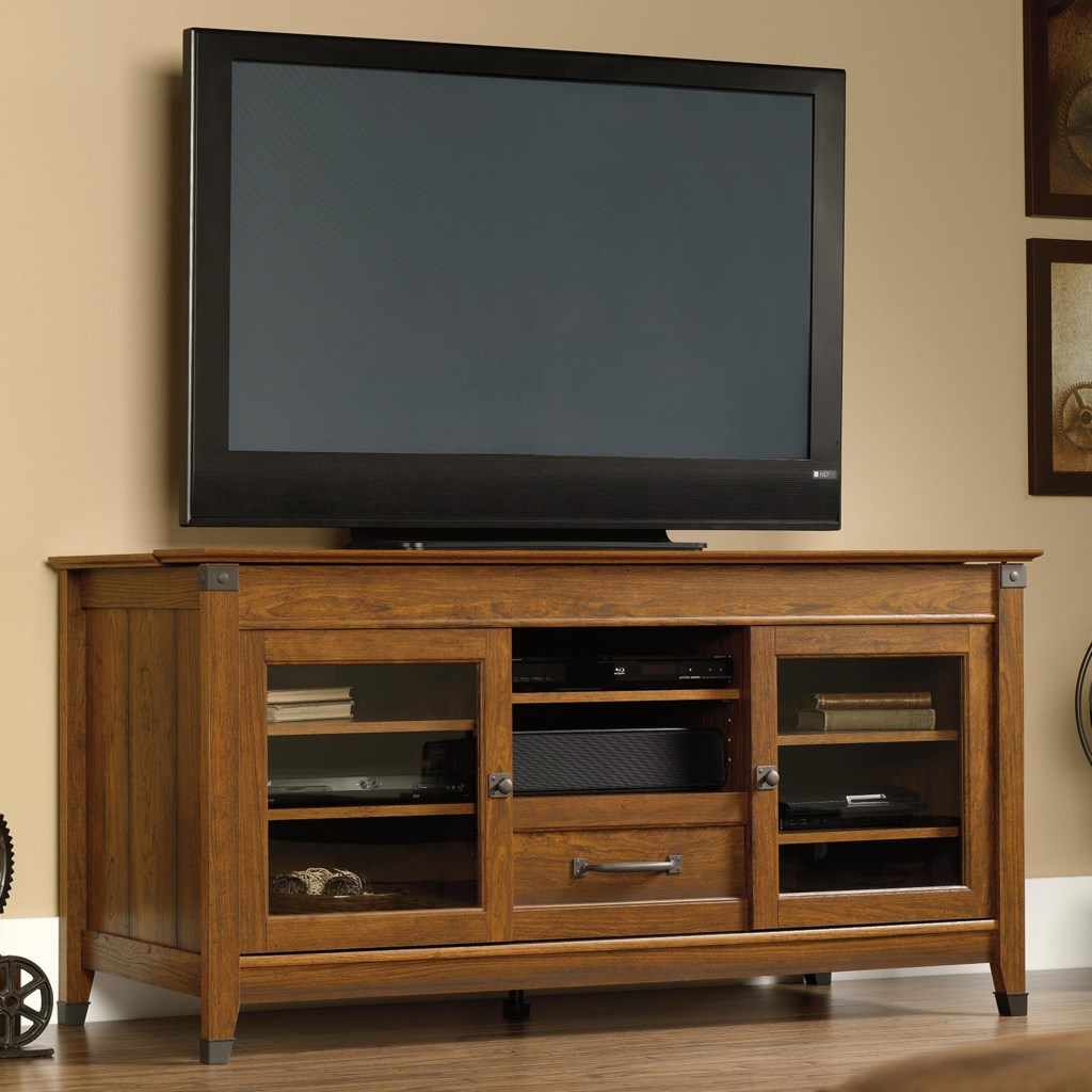 Sauder Carson Forge 412922 Rustic Style Entertainment Credenza With