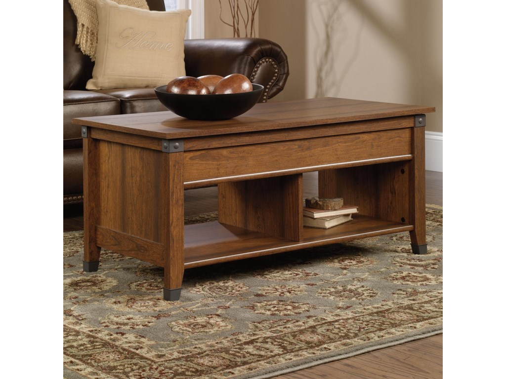 Sauder Carson Forge 414444 Lift Top Coffee Table With Plank Look And