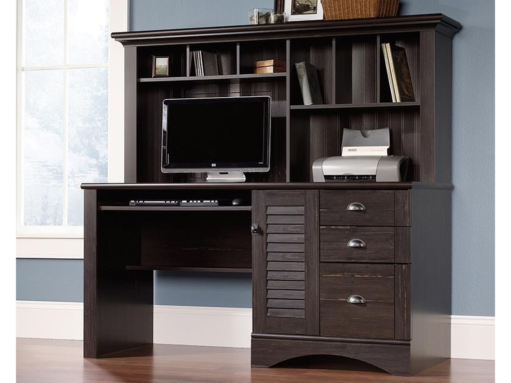 Sauder Harbor ViewComputer Desk with Hutch Package
