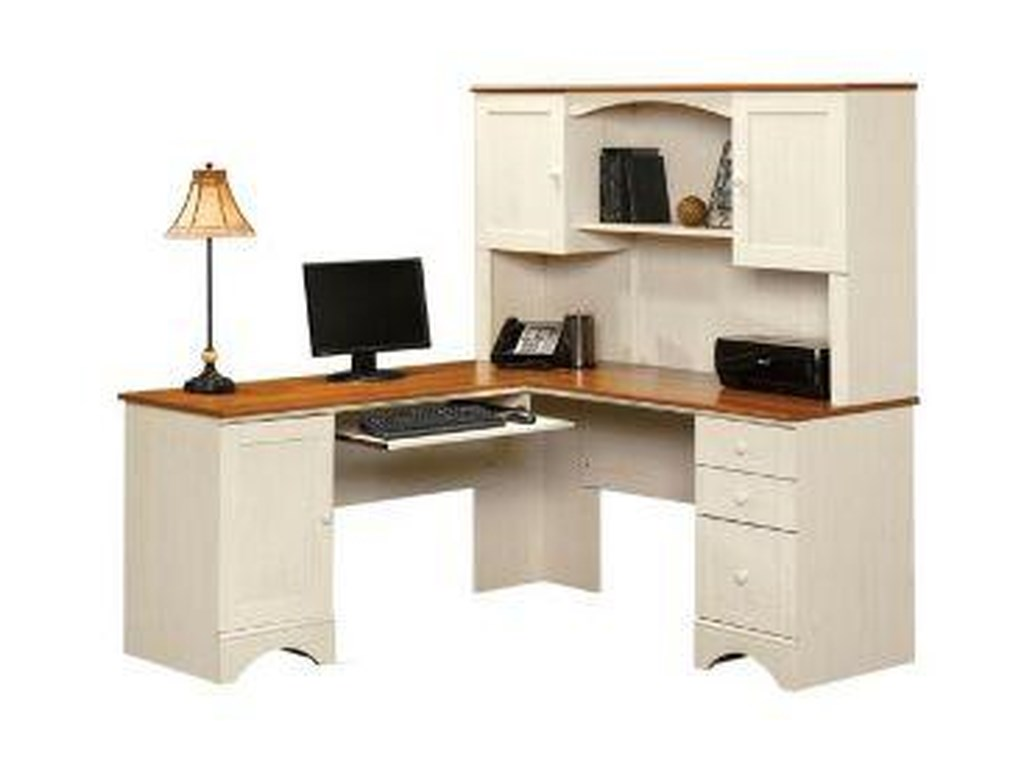 Sauder Harbor ViewCorner Computer Desk and Hutch