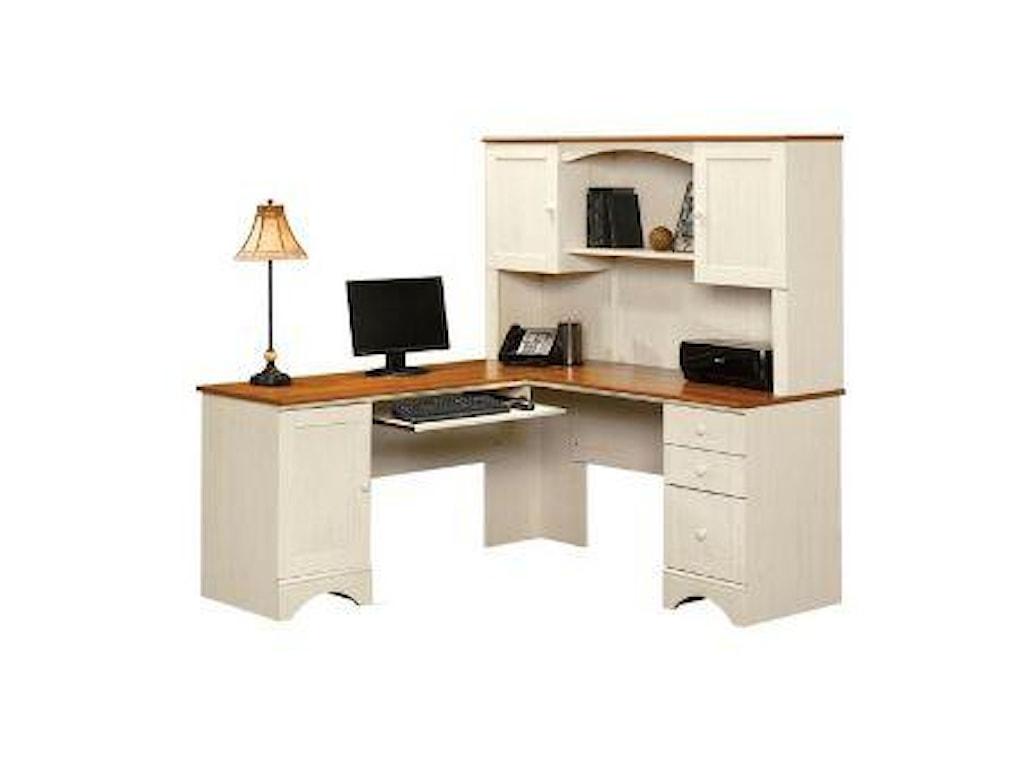 Sauder Harbor View Cottage Double Pedestal Corner Computer Desk With