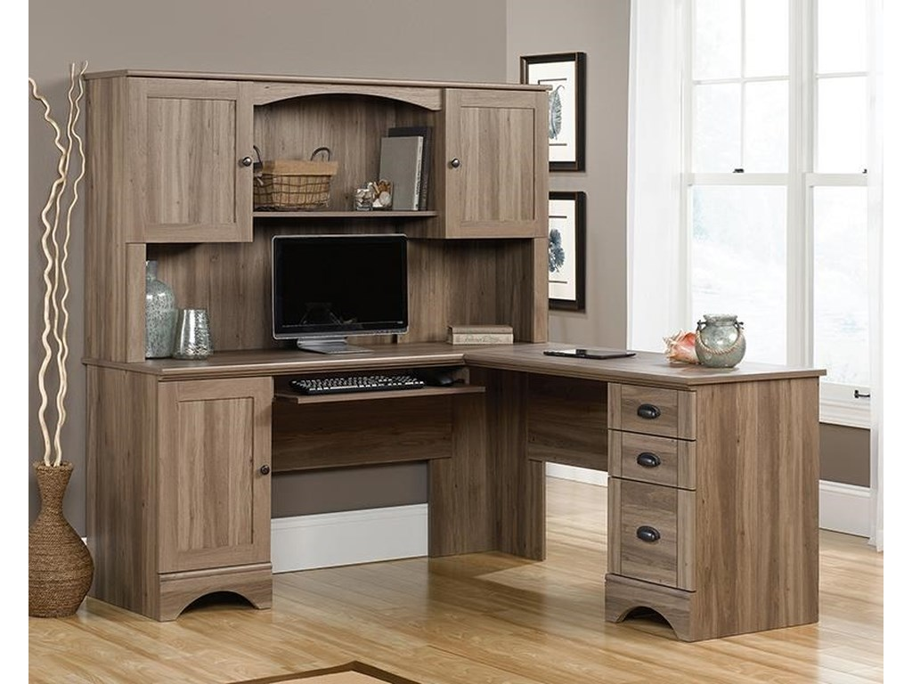 Harbor View Desk, Hutch and Bookcase in Salt Oak