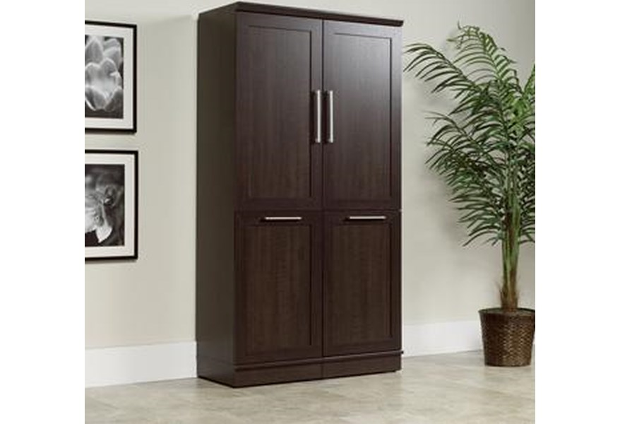 Sauder Homeplus 411309 Contemporary Storage Cabinet With Trash Receptacle Corner Furniture Miscellaneous Accessories