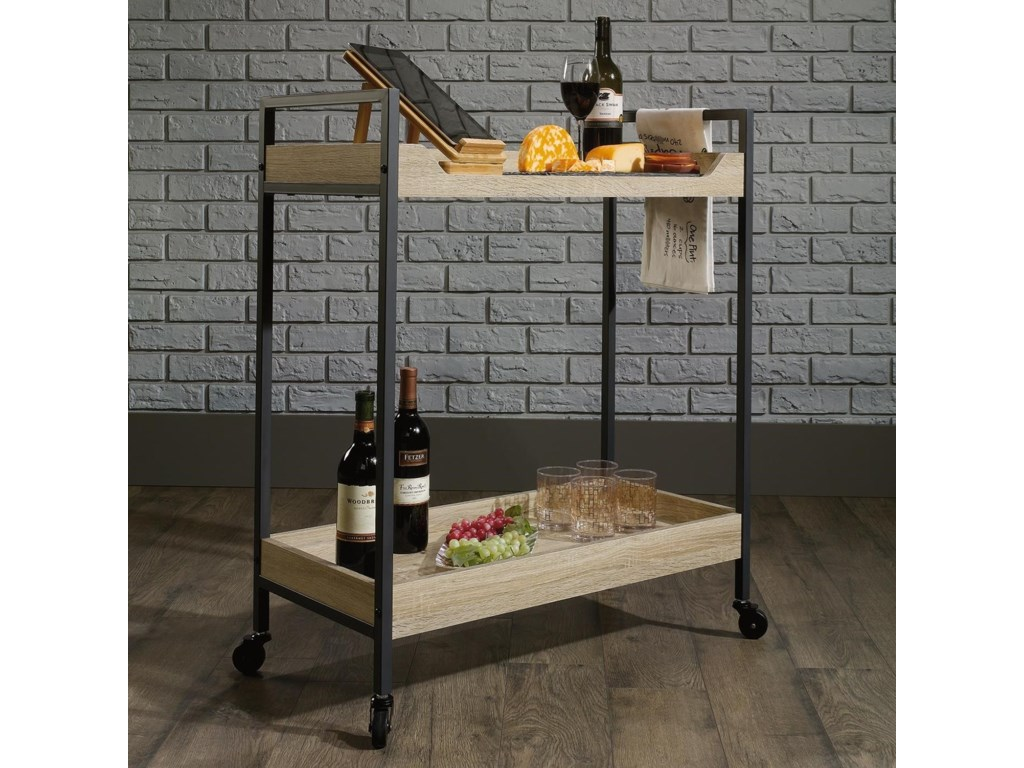 7ed58c8355a6 North Avenue Metal Cart with Rustic-Look Shelves by Sauder at John V  Schultz Furniture