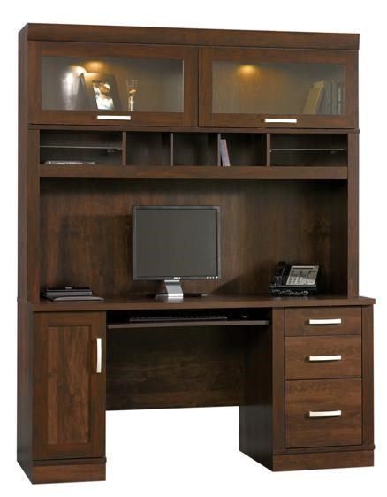 Sauder Office Port Contemporary Computer Credenza | Westrich Furniture U0026  Appliances | Double Pedestal Desk