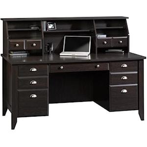 Sauder Shoal Creek Executive Desk And Hutch Westrich Furniture Appliances Desk Hutch Sets