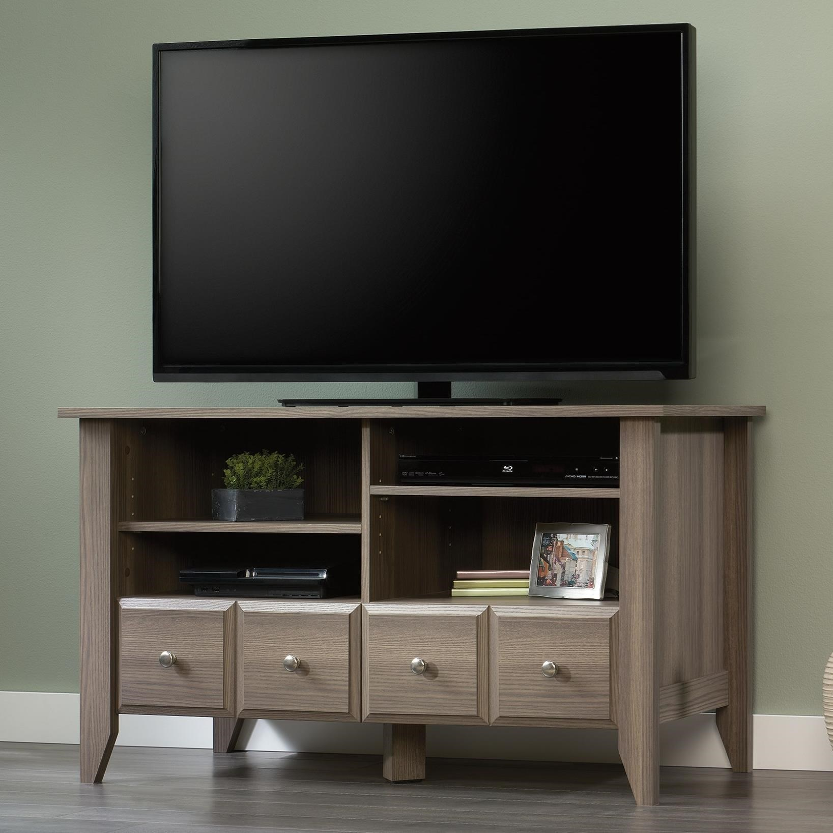 Sauder Shoal Creek TV Stand With Adjustable Shelves
