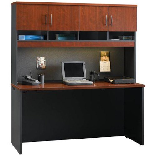 Sauder Via Kneehole Credenza And Hutch With Bulletin Board And