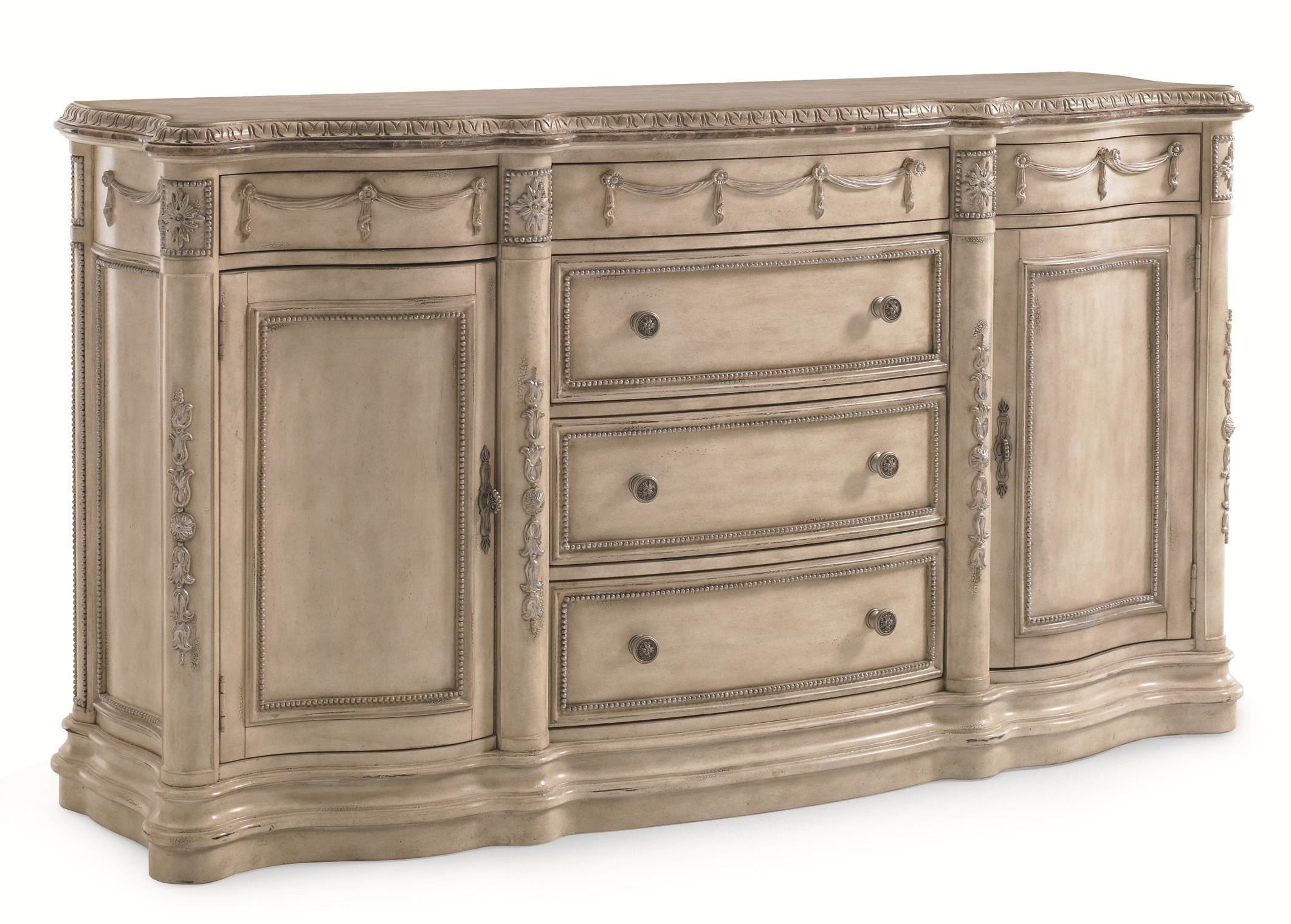 Schnadig Empire II Traditional Six Drawer Buffet With Emperador Marble Top