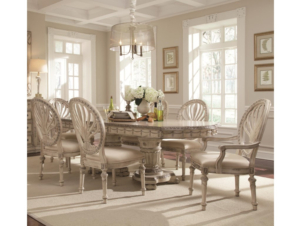 Schnadig Empire II 7-Piece Double Pedestal Two-Leaf Table and Oval ...
