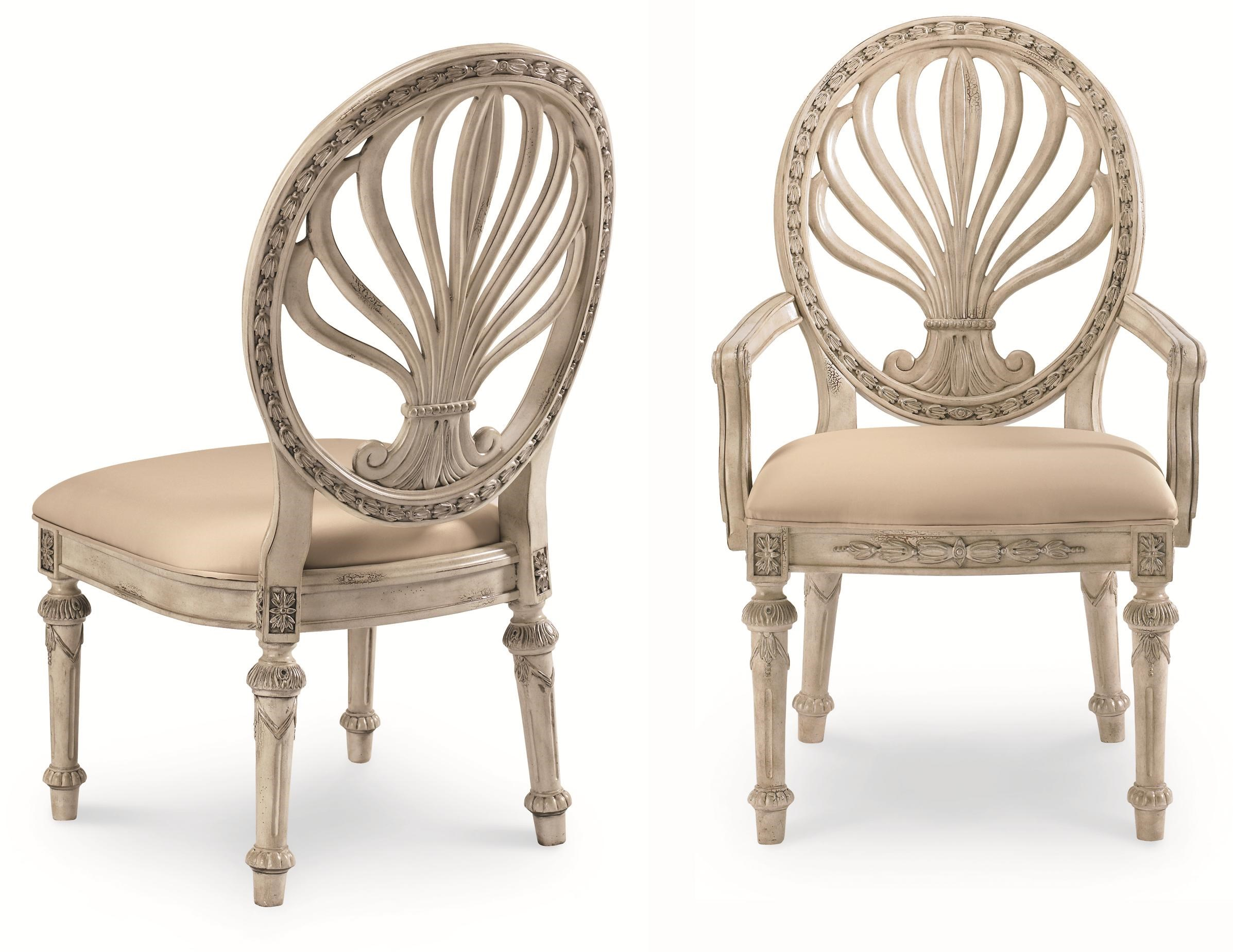 detailed view of moulded pedestal base oval back chairs