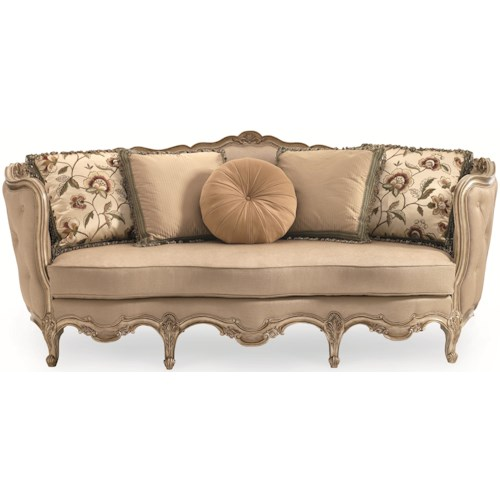 Schnadig Florence Exposed Wood Sofa with Button Tufted Back and Carving Details