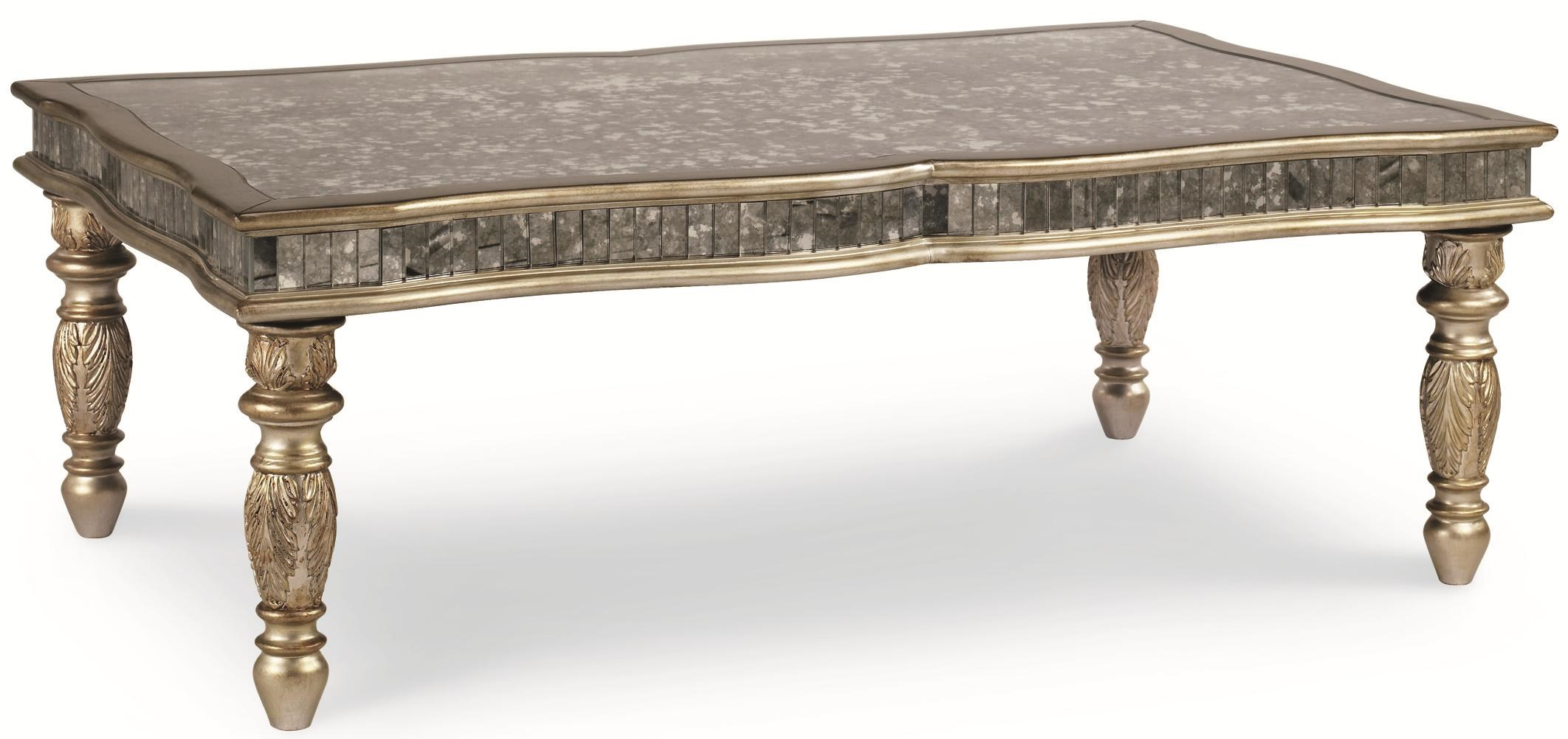 Schnadig Florence Transitional Cocktail Table With Metallic Finish And  Antique Mirror Top