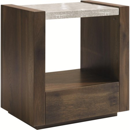 Best in Glass 1 Drawer Nightstand
