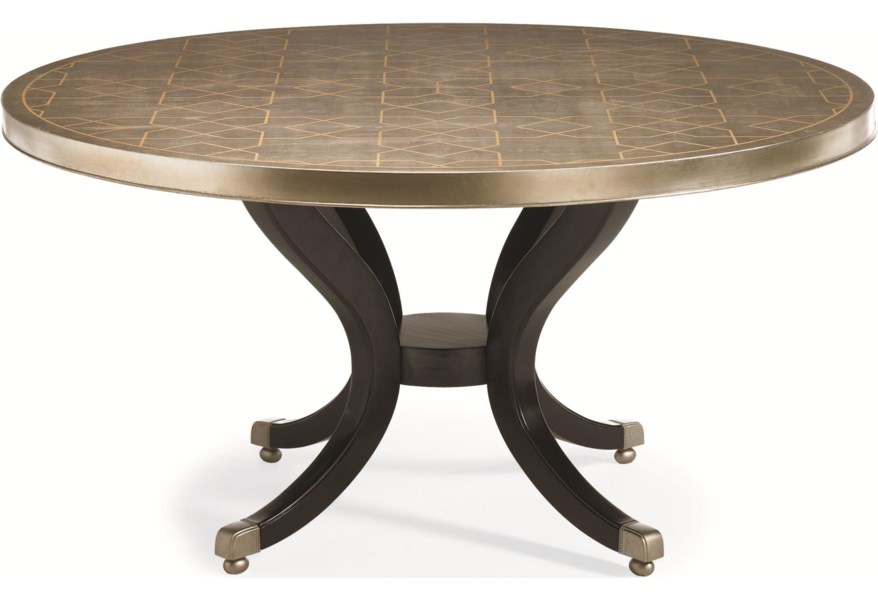 Caracole New Traditional Center Of Attention 60 Inch Round Dining Table With Geometric Trellis Patterned Leaf Top Jacksonville Furniture Mart Dining Tables