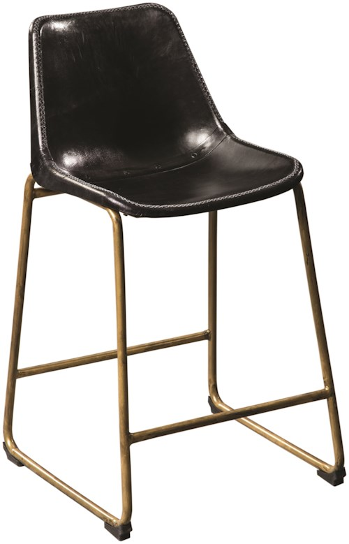 Scott Living 102967 Counter Height Bucket Stool with Brass Base