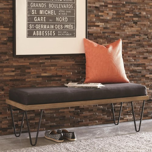 Scott Living 500574 Mid-Century Modern Upholstered Bench with Hairpin Legs
