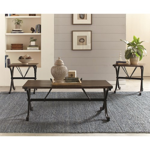 Scott Living 700866 Industrial Three Piece Table Set