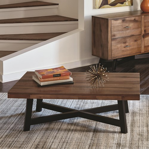 Scott Living 70549 Rustic Coffee Table with X-Shaped Base