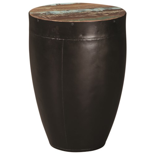Scott Living 70553 Side Table with Black Drum Base