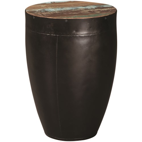 Coaster 70553 Side Table with Black Drum Base