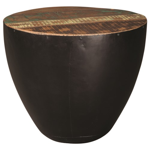 Scott Living 70553 End Table with Black Iron Drum Base