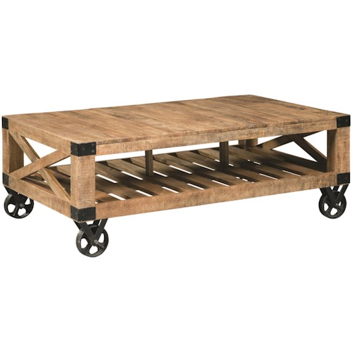 Scott Living 70554 Industrial Coffee Table with Casters