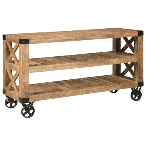 Scott Living 70554 Industrial Sofa Table with Casters